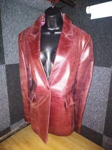 Burgundy Genuine Leather suit jacket & Skirt