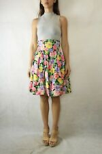 VINTAGE HANDMADE RETRO 70s 80s Pink Floral High Waist Short Skirt Size 8-10