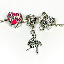 Ballerina Dance Rhinestone Bow Dangle Charms European Bead fit Bracelet 3pc