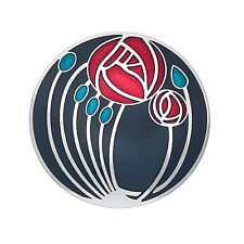 Black Mackintosh Brooch Roses and Buds Silver Plated Brand New Gift Packaging