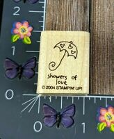 Stampin' Up! Showers Of Love Heart Umbrella Rubber Stamp 2004 Baby Wedding #N88