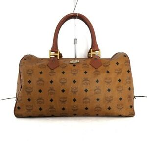 Auth MCM Light Brown Black Brown Synthetic Leather Boston Bag