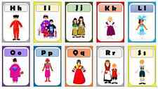 multicultural diversity people around the world flashcard alphabet frieze Aa -Zz