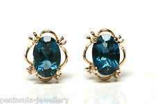 9ct Gold London Blue Topaz Studs earrings Gift Boxed