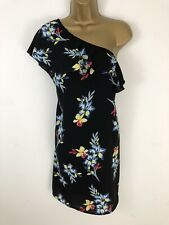 New Look Dress Black Yellow Blue Floral Print Tunic Ruffle One Shoulder Size 16