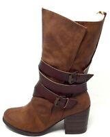 Blowfish Womens B138 Mid-Calf Stacked Heel Boots Brown Leather Size 8.5 M US