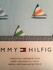 Tommy Hilfiger 52x70 Tablecloth Blue sailboats nautical boats Easy Care Fabric