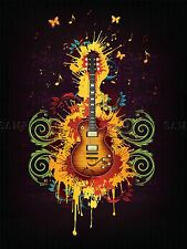 PAINTING GUITAR PAINT SPLACH BUTTERFLY GROOVY COOL RETRO POSTER PRINT BMP10030