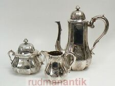 prächtiges 3-teiliges KAFFEESERVICE massiv SILBER 800 SCHLEISSNER HANAU um 1900