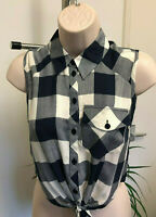 Miss Selfridge New Navy Blue White Sleeveless Crop Tie Front Top Size 6-14