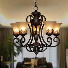 5 LIGHT ADJUSTABLE VINTAGE PENDANT GLASS CHANDELIER FOYER DINING LIVING ROOM