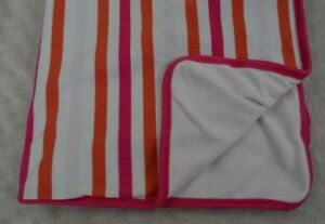 Old Navy Pink White Orange Stripe Baby Blanket Security Lovey Fleece Cotton