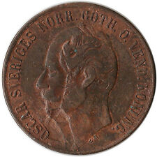 1858 Sweden 5 Ore Coin Mint Error KM#690