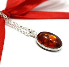 Amber Pendant Silver Necklace, 14 x 10 mm Cabochon Gemstone, 20 Inch Chain