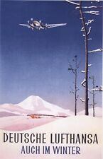 "Vintage Lufthansa ""Also  in the Winter"" Travel Poster"