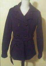 Jou Jou Womens Coat Size Small S Black Double Breasted Belt