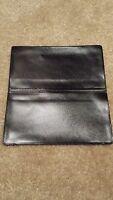 Black Vinyl Checkbook Holder - Duplicate Flap Cover - Top Tear Check Register