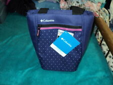 NWT Columbia Insulated, leakproof zip top  lunch tote - Purple w/white dots