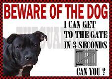 n STAFFORDSHIRE BULL TERRIER STAFFIE BEWARE NOVELTY DOG SIGN