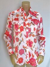 Jones New York WOMEN'S BLOUSE White Floral Roll-up Long  Sleeves Polyester S NWT