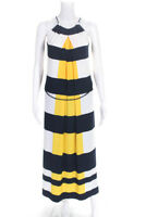 Maggy London Womens Sleeveless Scoop Neck Striped Maxi Dress White Blue Size 2