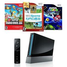 Nintendo Wii Console Black Bundle Super Mario Galaxy + Wii Sports + New Bros
