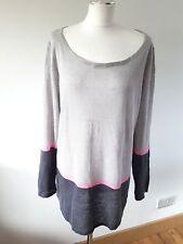 Mint Velvet - Striped Grey and Pink 100% Linen Knit Top  - Size 14 UK