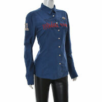 Gaastra Med Voyage Womens Casual Button Shirt Long Sleeve top size Large L Blue