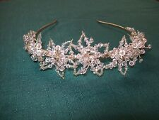VINTAGE DELICATE GLASS/CRYSTAL BEADED FLOWER WEDDING TIARA, GOLD TONE BAND