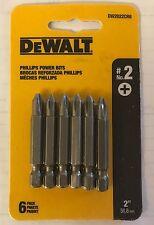 """DEWALT 6 PC 2"""" P2 PHILLIPS POWER BITS DW2022CR6 SCREW BITS (1 PACK 6 BITS)"""