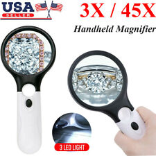 45X Handheld Magnifier Reading Magnifying Glass Lens Jewelry Loupe 3 LED Light