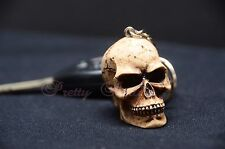 1PC Skull Head Keychain Ring 3D Skeleton Head Brown Bone Biker Head Death Skulls