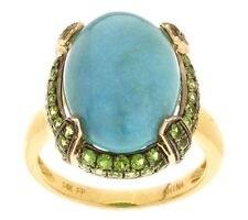 14K YELLOW GOLD OVAL TURQUOISE & 0.70 CT TW PAVE CHROME DIOPSIDE RING SIZE 5 QVC