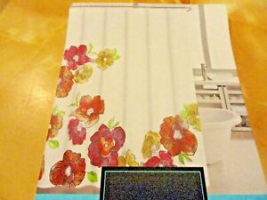 new BIG bold Colorful FLOWERS Pink~Orange~Green Fabric SHOWER CURTAIN ~C. Rowley