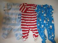 Baby Boy 3 Month XMAS Carters Fleece Sleepers Fall Winter Clothes Lot