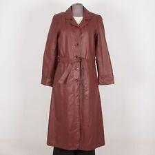 VINTAGE Women's Leather Coat M Medium Burgundy Removable Faux Fur Liner SEARS