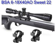 """BSA® Sweet 22 6-18X40 Scope w-3/8"""" Dovetail Rings Compensation for .22LR"""