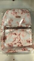 "New iFly Backpack Heather 16"" White Blush Roses Gold Print School Back Pack,"