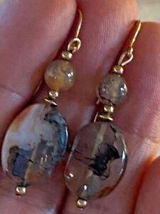 Beautiful 9CT yellow gold Moss Agate Dangly earrings - NEW HOOKS 375