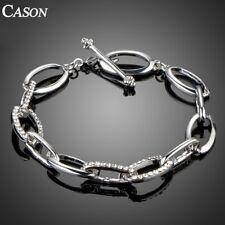 Platinum Oval Chain Bracelet for Women Fashion Austrian Crystal Wedding Jewelry