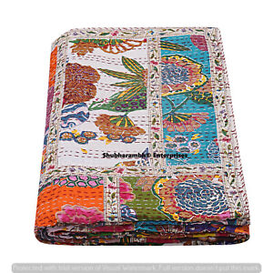 Indian Patchwork Kantha Quilts Bohemian Floral Print Coverlets Queen Bedspread