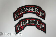 WWII US ARMY 6th & 7th RANGER BATTALION TAB PATCH GROUP w/ NET BACKING