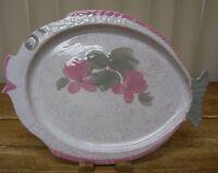 Karole Fish Pottery Platter Plate  Pink Gray Figural Figurine Specks