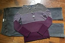 Women's Size 16 Xl Outfit Clothing Lot, 3pc, Jeans Sweater Necklace