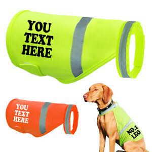 Personalised High Vis Dog Coat Custom Printed Hi Viz Pet Safety Vest Reflective
