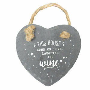 Love Laughter & Wine Mini Heart Shaped Hanging Slate Plaque With Rope