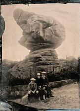 Antique Tintype Ferrotype c1920 RUSTHALL COMMON TOAD ROCK TUNBRIDGE WELLS