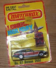 Very Rare 260z Matchbox Die Cast Datsun No. 67 on Bubble Pack Card USA 1981