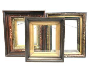 3 Antique Walnut Deep Picture Frames  Gilt, Gesso Victorian Eastlake Nice!
