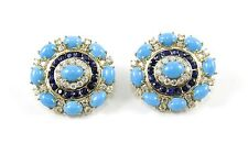 Round Turquoise, Diamond & Sapphire Cluster FashionEarrings 14K YG 24.45Ct
